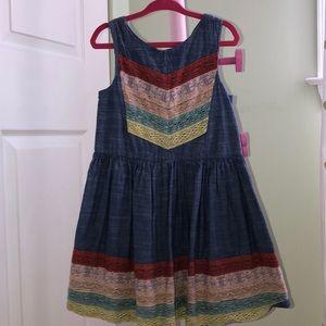Girls chambray and lace dress